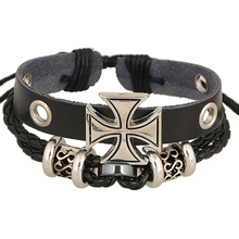 Kittenup Fashion Cross Charm Bracelets Braided Leather Rope Chain Bracelet Black White Brown For Men
