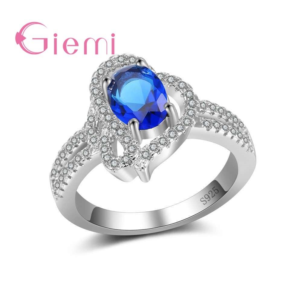 GIEMI стерлингового серебра 925 Игристые Promise Ring Clear CZ полые Форма Обручение кольцо для Для женщин Jewelry Обручение Anillos