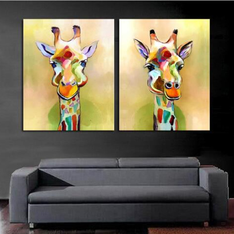 Handpainted Canvas Palette Giraffe Paintings Handmade Abstract ...