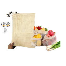 6Pcs/lot Reusable Storage Mesh Bags Home Kitchen Cotton Portable Vegetable Bag Shopping Outdoor Picnic Bag Large Medium Small