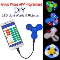 DIY LED Hand Spinner Intelligent Phone APP Control Lighting Word Novelty Creative Fidget Spinner Toys