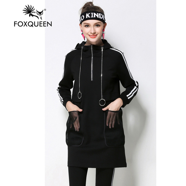 Foxqueen 2017 Весна Новая Мода Женщины Siml Капюшоном Dress Вэй Одежда Спортивная Одежда Большой Плюс Размер Высокое Качество Бесплатная Доставка 6429