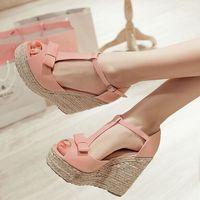 Women Sandals Summer Platform Wedges High Heeled Sandals T Belt Women S Sandals Hemp Rope Straw