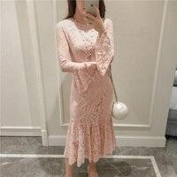 Long White Pink Lace Dress 2016 Women Spain Style Bohemian Elegant Sexy Long Flare Sleeve O