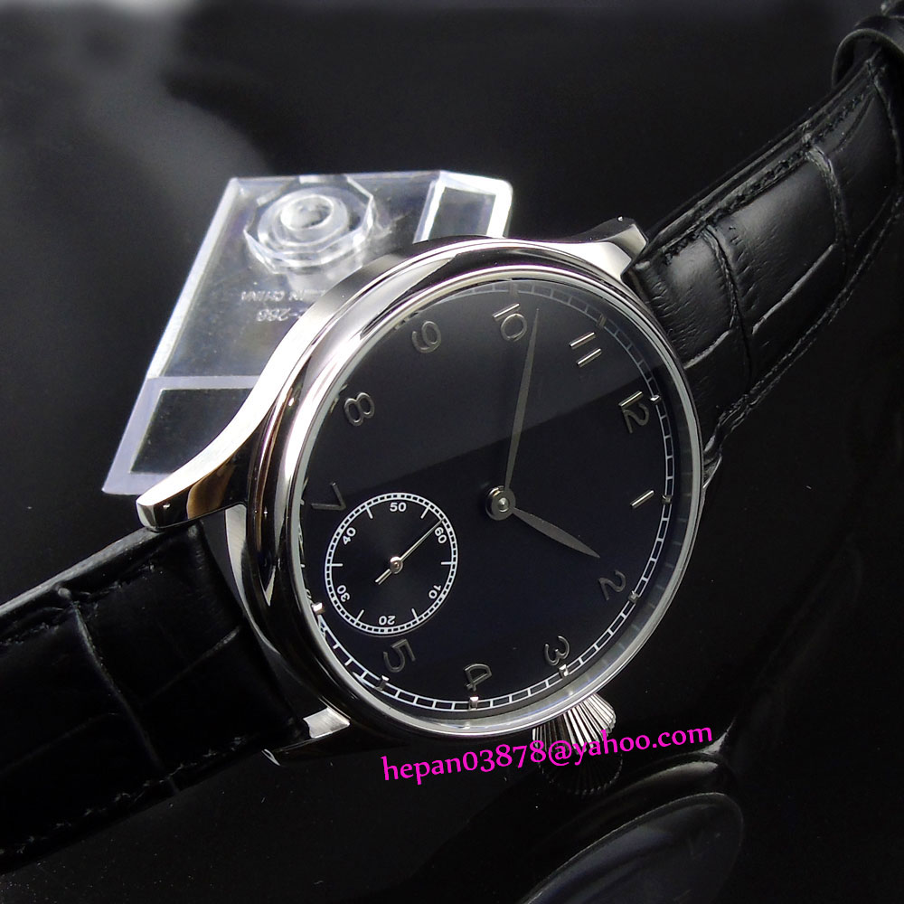 44mm Corgeut watch black sterile dial with silver sub-dial stainless steel case 6498 Mechanical Hand Wind men's watch P186 купить недорого в Москве