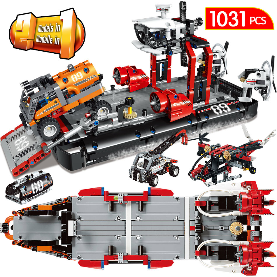 1031PCS Air Cushion Ferry Building Blocks Compatible Technik City Boat Truck Helicopter Bricks Sets Toys For