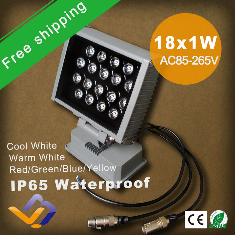 Free Shipping 2pcs/lot 18W LED Project lamp waterproof single color 18*1W High Power outdoor stage Spotlight lighting AC85-265V ultrathin led flood light 200w ac85 265v waterproof ip65 floodlight spotlight outdoor lighting free shipping