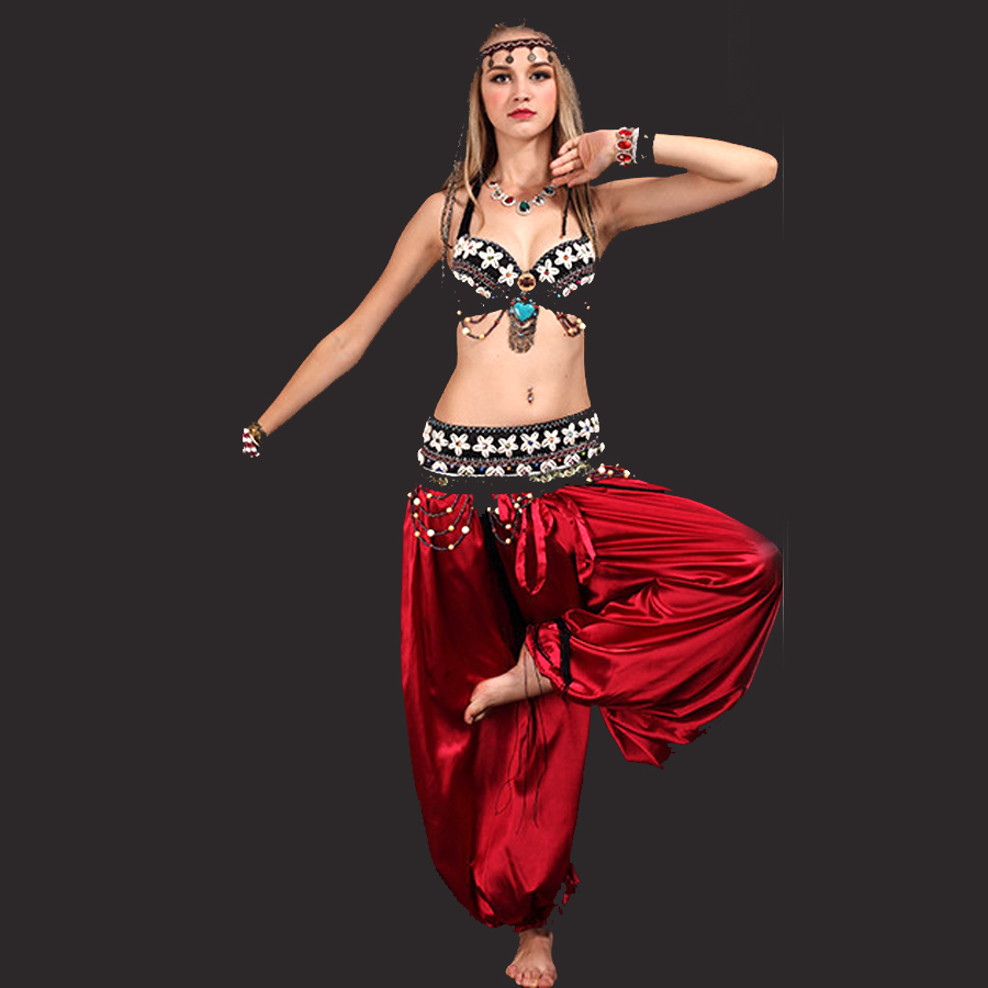 Tribal Belly Dance 3pieceBra Girdle Skirt Bollywood Costumes Black S M L Ropa De Danza Del Vientre Free Shipping In Dancing From Novelty