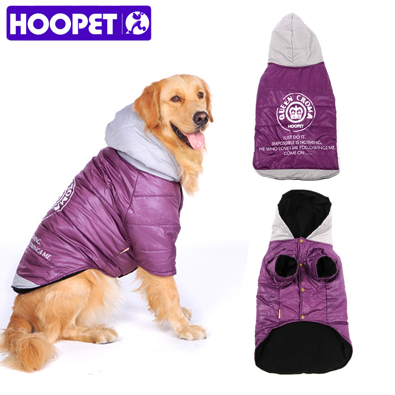 HOOPET Big Dog Clothes Large Dog Coat Purple Warm Cotton-padded Two Feet Clothes Thicken Hoodie Coat Jacket Dog Clothes