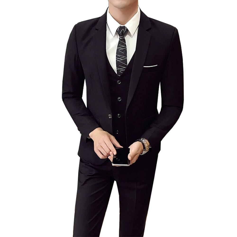 Hot Sales Korean Version Men Wedding Suit 3 Pieces (Jacket+Pant+vest) Costume Casual Party Slim Fit Business Formal Male Blazers