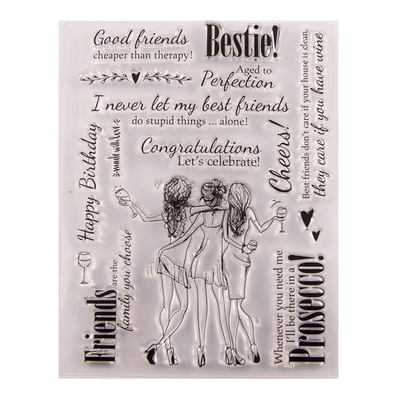 Congratulation with Friends Clear Stamps for Scrapbooking DIY Silicone Seals Photo Album Embossing Folder Paper Maker Template in Stamps from Home Garden