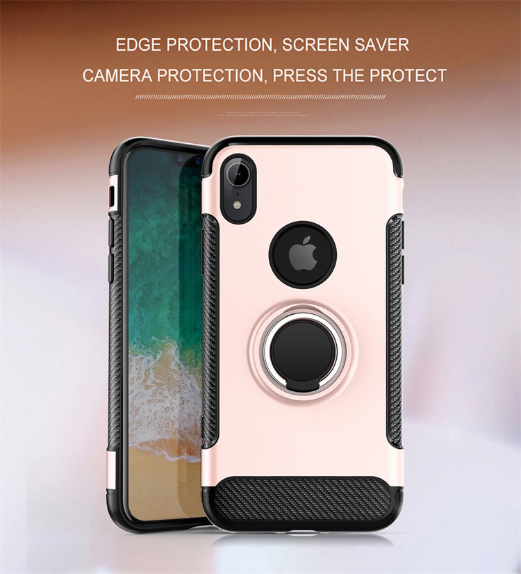 Protect Camera 360° Rotating TPU PC Ultra Thin Carbon Fiber Ring Bracket Mobile Phone Case For iPhone Xr 6 1 quot Anti knock in Fitted Cases from Cellphones amp Telecommunications