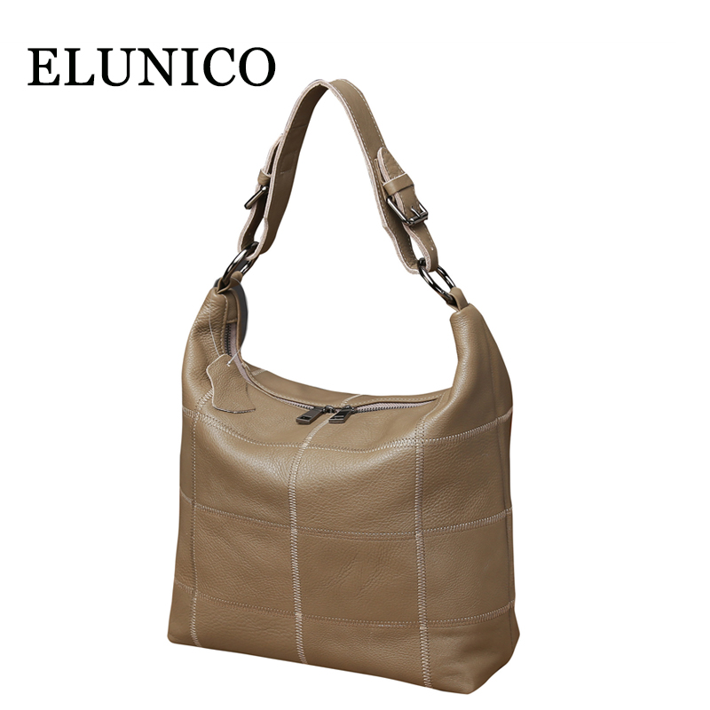 все цены на ELUNICO 2018 Spring Ladies Genuine Leather Tote Bag Ladies Cowhide Leather Small Crossbody Shoulder Bags for Women Messenger Bag