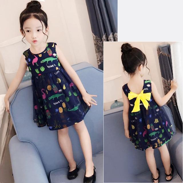 Shybobbi New Fashion Girls Dress Flower Crocodile Print Girl Sundress Party Princess Baby Children Clothes Size