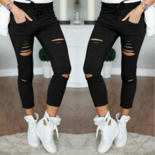 2019 new ripped jeans for women Women big size ripped trousers stretch pencil pants leggings women jeans