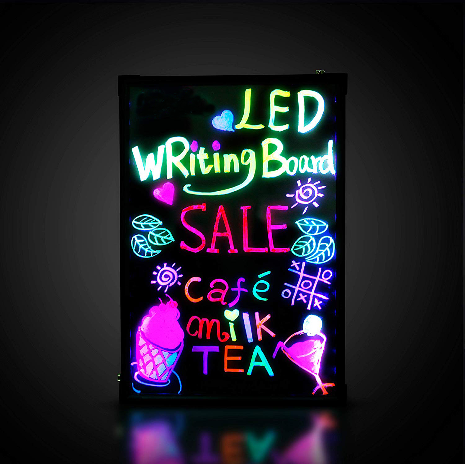 "16'' X 12"" Illuminated Erasable Neon Acrylic Led Writing Board Open Sign With 8 Colors Markers 7 Colors Flash"