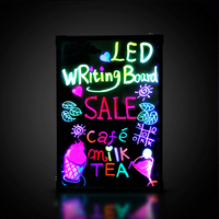 16'' x 12 Illuminated Erasable Neon led writing board open sign with 8 colors Markers 7 Colors Flash
