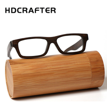 HDCRAFTER Real Bamboo Wooden Vintage Optical Glasses Frame for men women Woodblack Square Myopia Eyeglasses Frames de grau