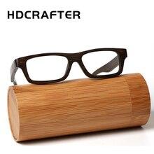 HDCRAFTER montatura per occhiali da vista Vintage in legno di bambù reale per uomo donna Woodblack Square miopia montature per occhiali de grau
