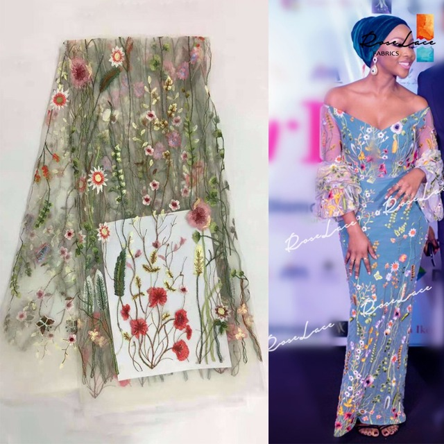 Nigeria Style French Mesh African Lace Fabric White Guipure Net Lace Flower  Embroidery Design India Women Dress Tulle Material 47f3c83091f1