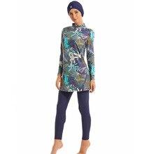 צנוע מוסלמי בגדי ים Hajib האסלאמי בגד ים לנשים מלא כיסוי שמרני Burkinis לשחות ללבוש בתוספת גודל