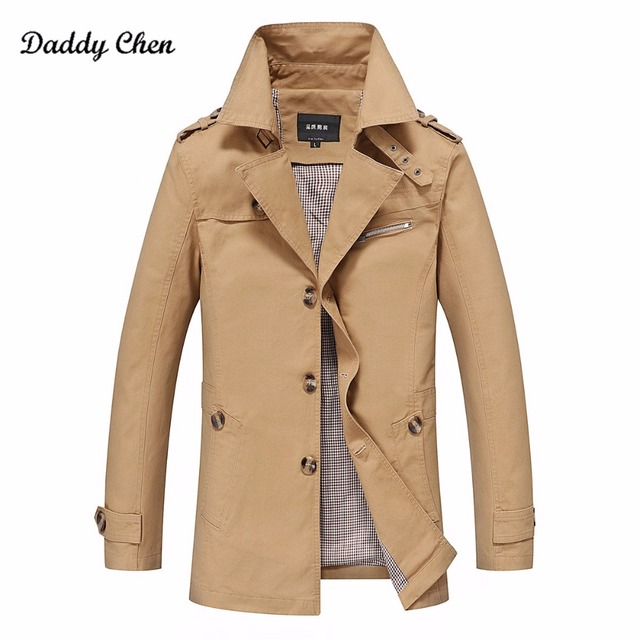 5XL Fashion long trench coat men winter slim Fit Casual trench coat/male pure color Pure cotton long jackets 4 Colors drop ship