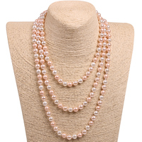 Fashion Long Pearl Necklace Freshwater Shell Peal Beads Round Beautiful Charms For Necklace Can Be Multilayers