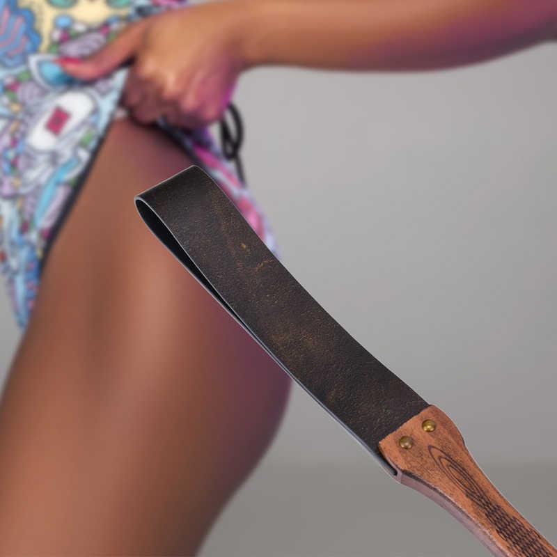 Coklat Vintage Asli Kulit Cambuk BDSM Nepok Pantat Flogger Gagang Kayu BDSM Amatur Diikat Cambuk Mainan Seks untuk Wanita Dewasa Permainan