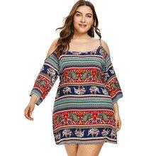 Plus Size Open Shoulder Ethnic Summer Mini Dress