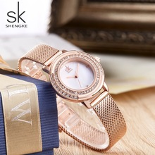 2019 Shengke Women Crystal Dial WristWatches Luxury Rose Gold Quartz Watch Ladies Stainless steel strap Watch Girl Gifts Clock new women s fashion luxury bracelet watch quartz golden clock rectangle case crystal dial steel chain strap dress wristwatches