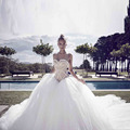 Gorgeous Puffy Ball Gowns 2017 Pearls Bridal Dresses With Cathedral Train Sweetheart Off The Shoulder Wedding Dress Lace Up