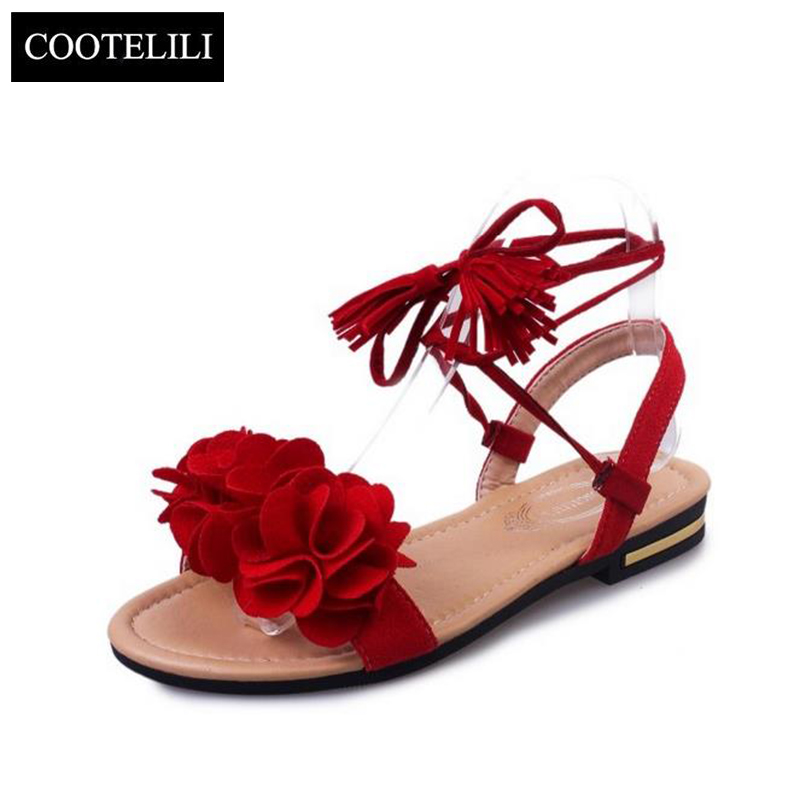 COOTELILI 35-39 Bohemian Summer Gladiator Solid Flats Open Toe Women Shoes Casual Ladies Flower Sandals Beach Sandalia Feminine планшет apple ipad 9 7 wi fi cellular 128gb space gray