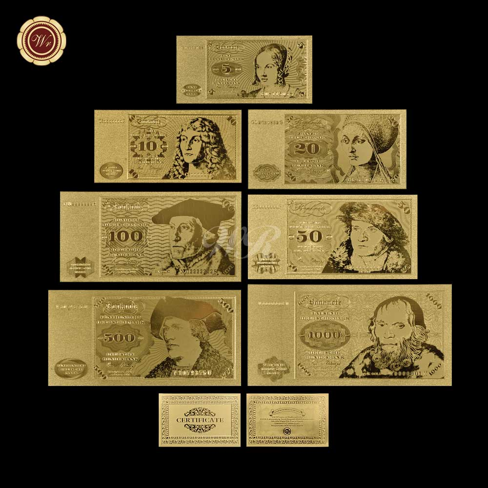Metal Gold Banknote Album Germany 5 <font><b>10</b></font> 20 50 100 500 <font><b>1000</b></font> Deutsche Mark Banknote Low Price Gold Foil Banknote For Souvenir image