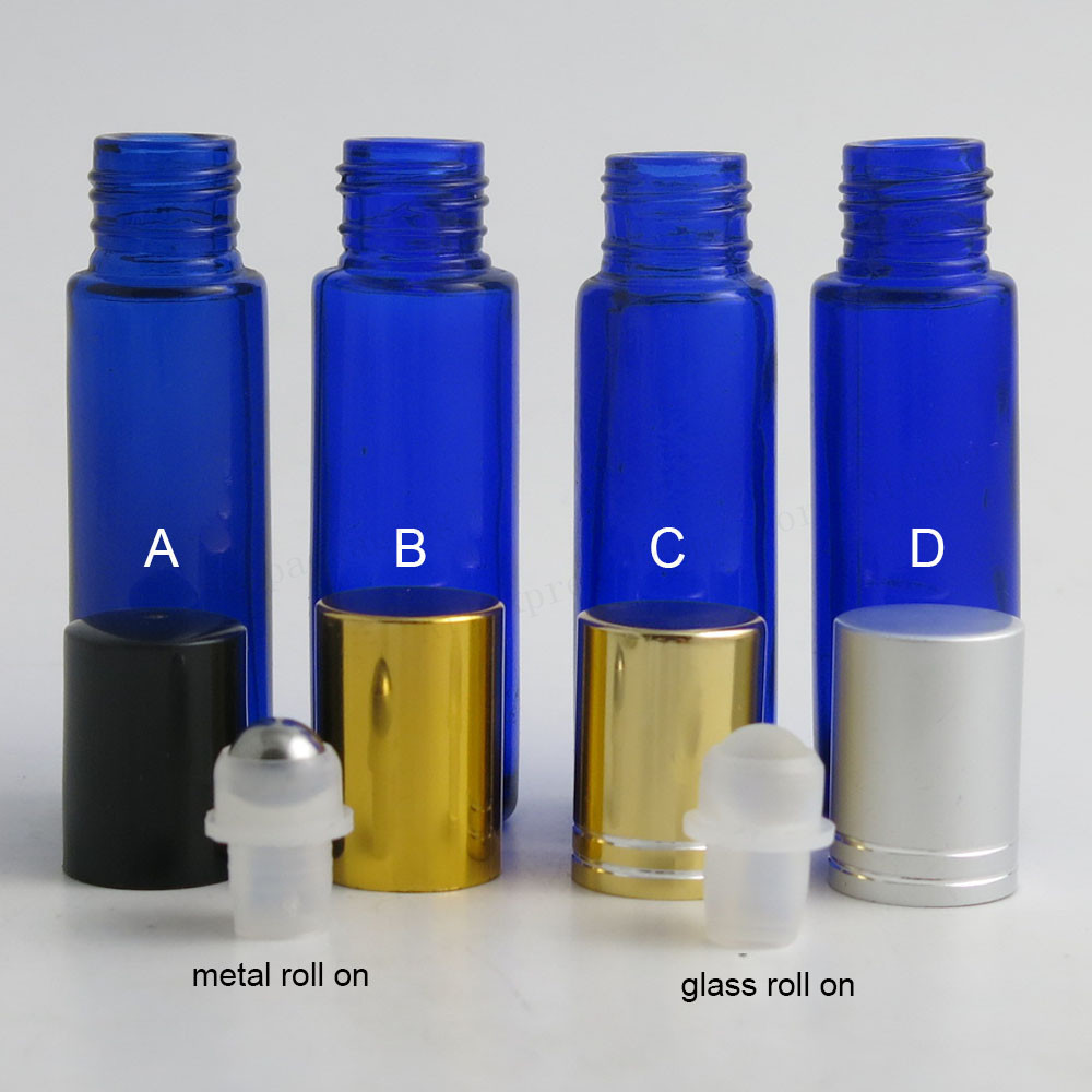 500 x 10ml Cobalt blue glass roll on bottle with Aluminum Plastic lids Glass Stainless Steel Ball 1/3oz Perfume roll-on bottle
