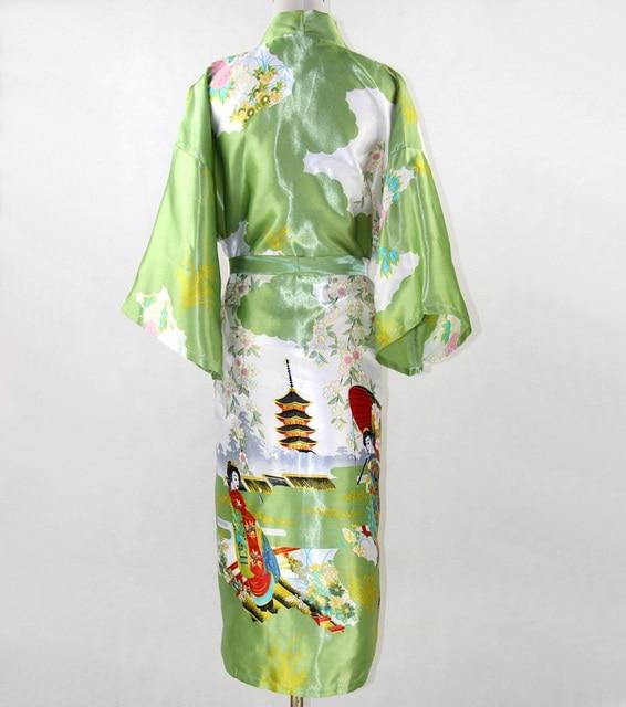 Зеленый Новый Кимоно Халаты Ночной Рубашке RobeBath Платье Домашней одежды YF7017