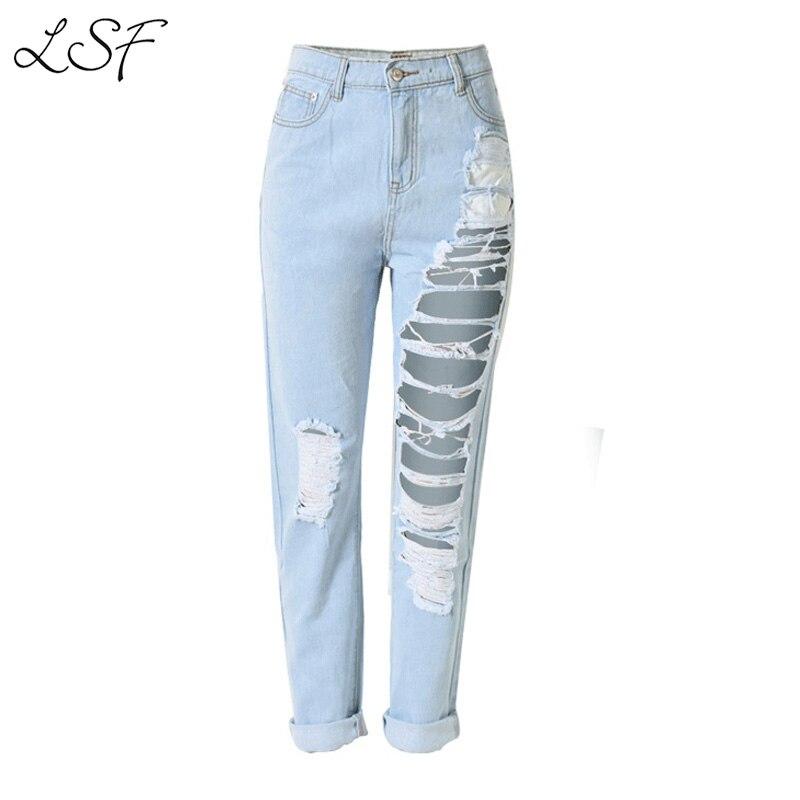 Online Get Cheap Distressed Boyfriend Jeans High Waisted ...
