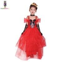 Маскарад покер красный сердца для девочек костюмы на Хэллоуин, чудес костюм для детей, карнавальные принцессы нарядное платье 110-140 см