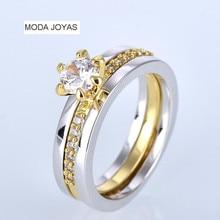 Female male Luxury Jewelry Engagement ring white zircon Cz Silver wedding Band ring Set for women men