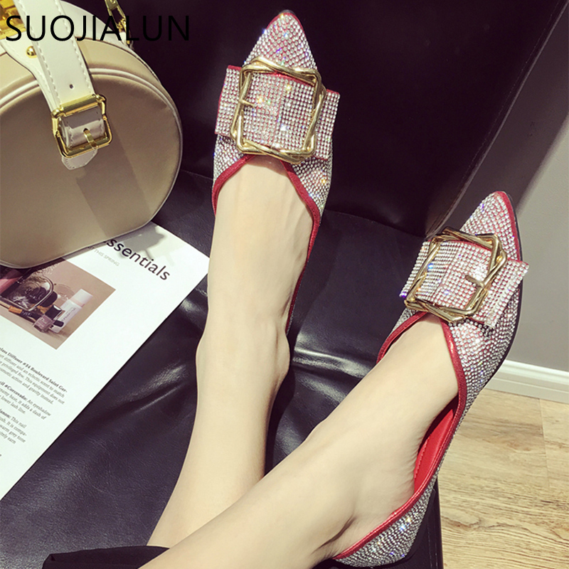 SUOJIALUN 2018 Women Flats Shoes Women Slip On Ballet Flat Fashion Brand Crystal Ladies Casual Pointed Toe shoes
