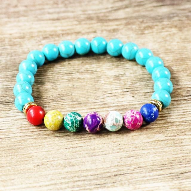 Yoga Mala Bracelet Stone Healing Protection Elastic Beaded Spiritual 7 Chakra Vintage Balance