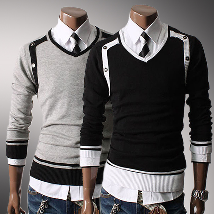 Yourself Style Novelty Men\u0027s Sweaters Cool Male Slim Casual Sweater Unique  V,neck Clothing Black Gray M L XL XXL 3097
