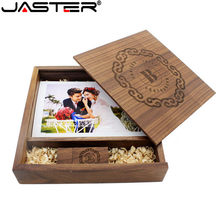 JASRER (1 PCS Free LOGO) Photo Unique Album walnut Wood USB+Box Pendrive USB flash drive 8GB 16GB Photography (170*170*35 mm)(China)
