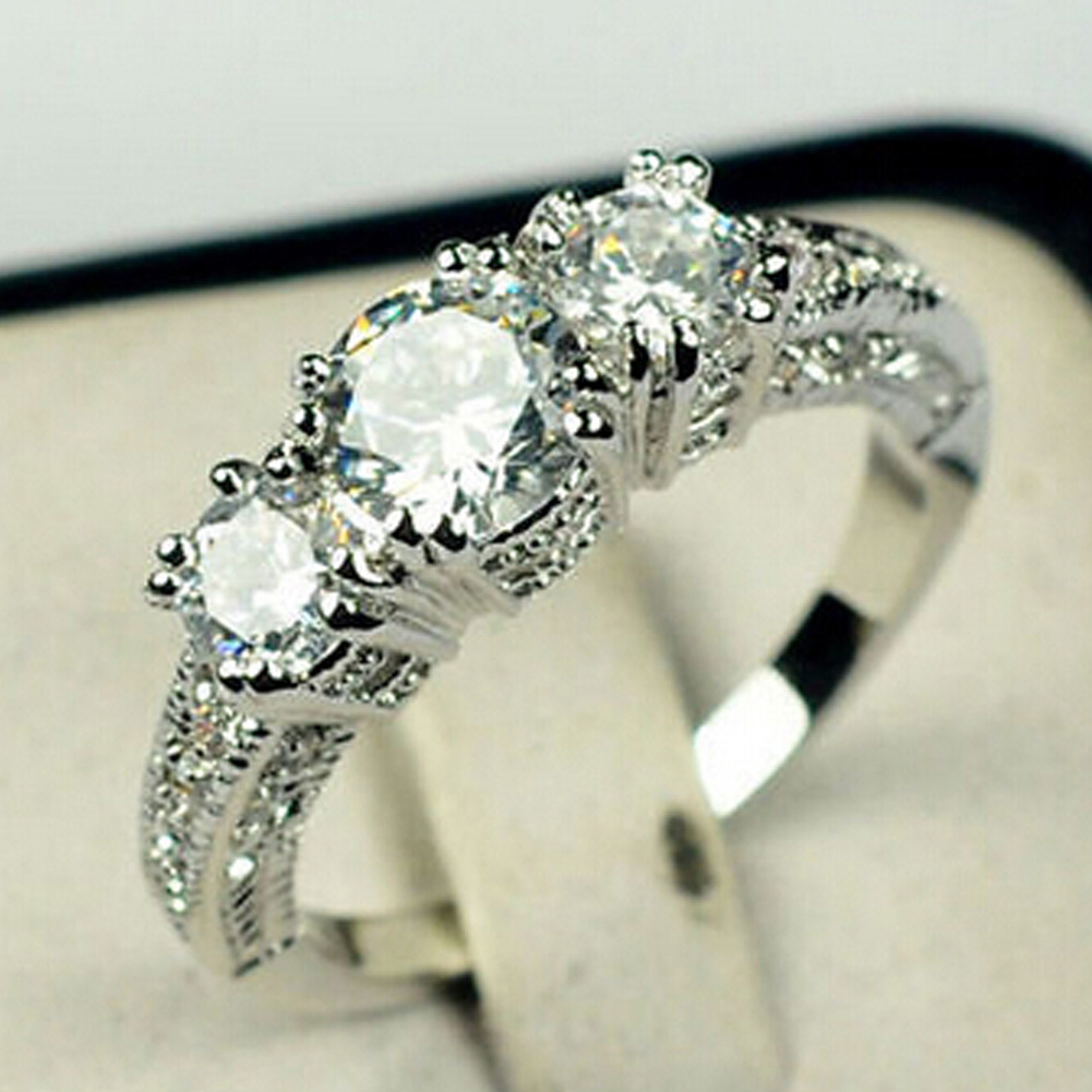 The Silver Color Rectangle Cut Three Big  Crystal Engagement Wedding Rings For Women