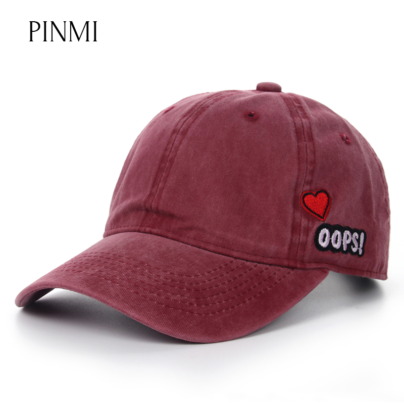 PINMI 2017 Cute Baseball Cap Women Solid Color Couple Snapback Cap Men Brand Embroidered Love Cowboy Casual Adjuatable Dad Hats