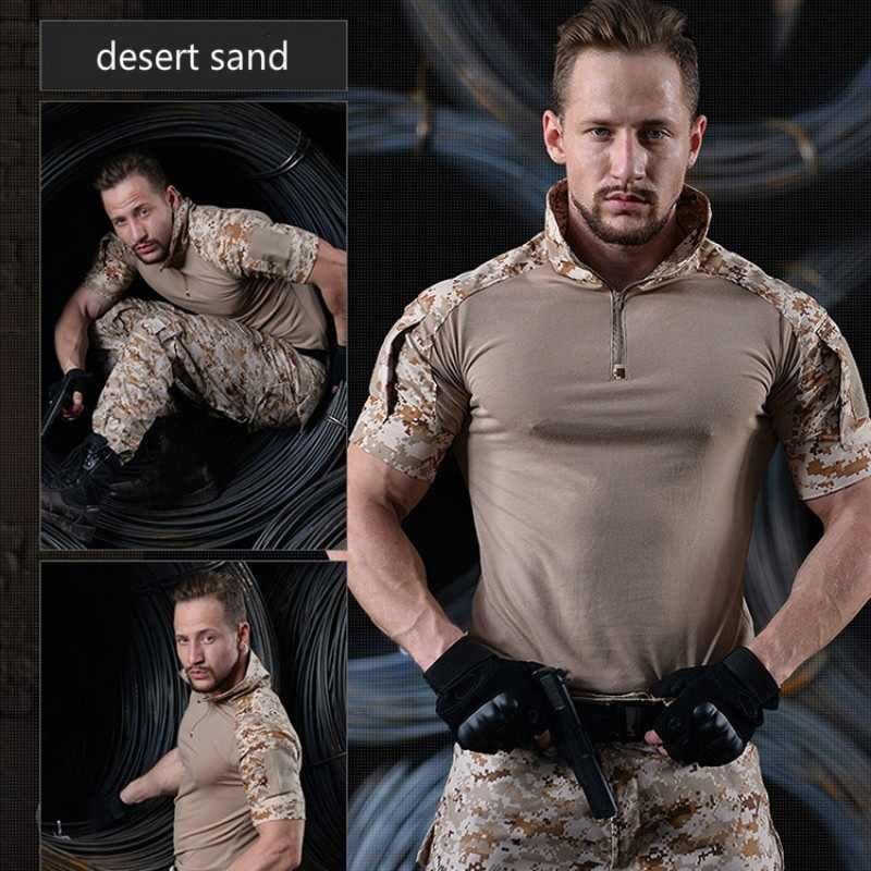Camouflage Tactical Military Shirt Men Short Sleeve Solider Army Shirts Multicam Uniform Frog Suit T Shirts Combat Clothing Men