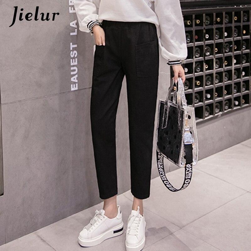 Jielur New All-match S-5XL Harem   Jeans   Plus Size Basic Black   Jeans   Women Loose Elastic High Waist Denim Pants 2019 Autumn Winter