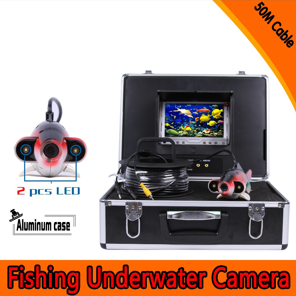 (1 Set) 50M Cable 7 inch Color Monitor HD surveillance system Underwater fishing camera Fish finder 2 PCS white LED Freeshippins buy monitor cable