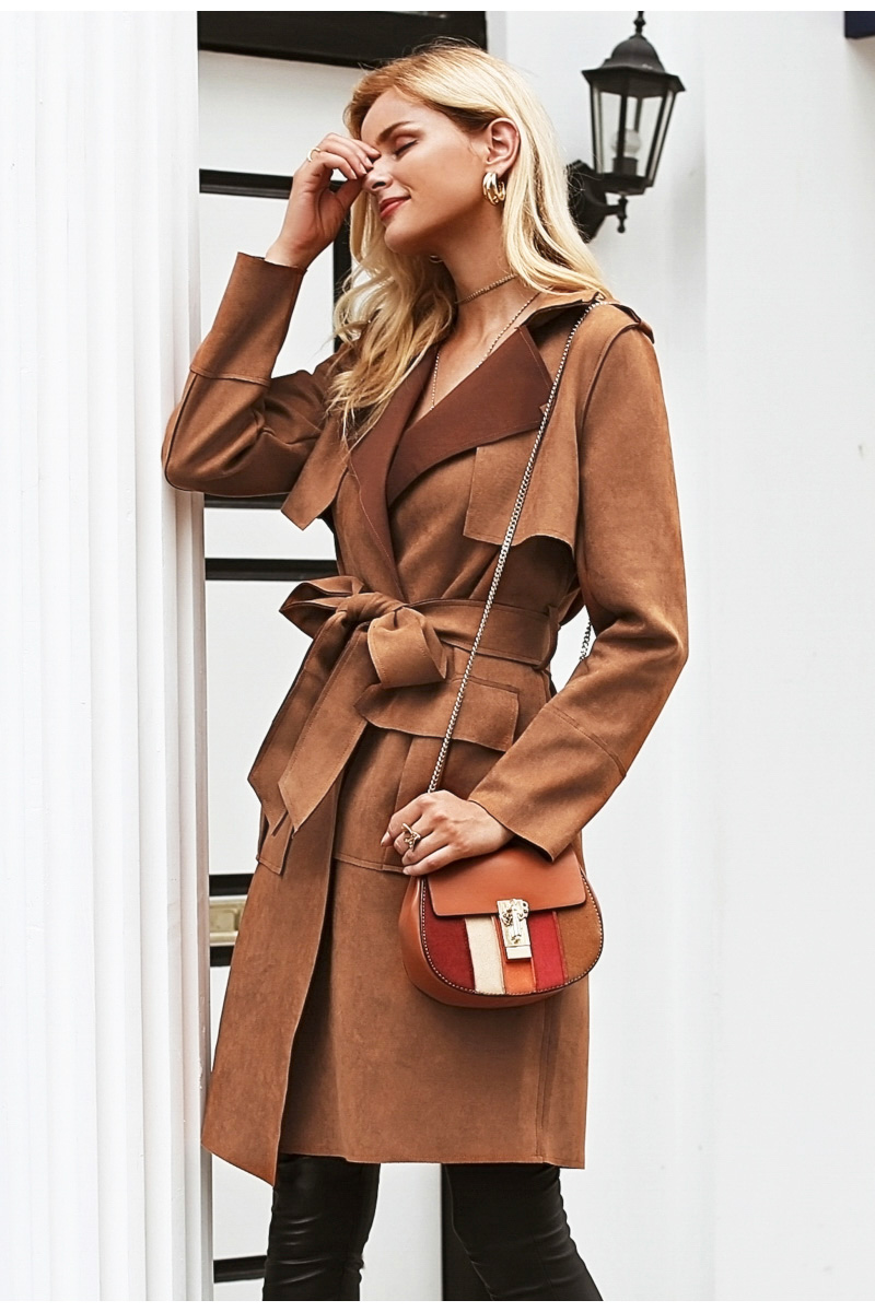 Simplee Turn down collar sash suede trench coat Casual leather pocket long women autumn coat Winter warm outwear overcoat female 5