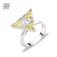 Hot Game Legend of Zelda Rings Women Gift 5A Zircon Jewelry Brand Wedding Engagement Silver Rings Triforce Zelda Copper Rings(China)