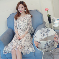 Floral Summer Fashion Maternity Nursing Dress Waist Chiffon Breastfeeding Clothes for Pregnant Women Pregnancy Clothing